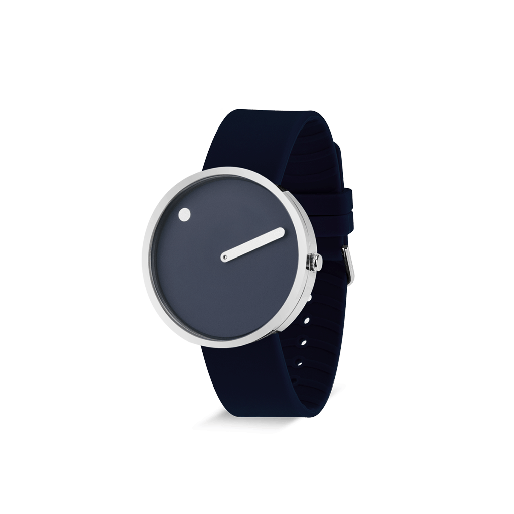 Picto 40mm Navy Blue - Polished Steel