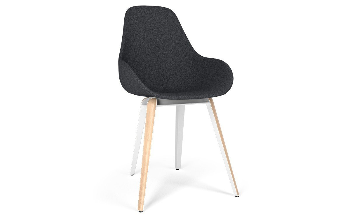 Kubikoff Slice Dimple Pop Chair Grey Wool No Seat Pad White Powder Coated Metal + Natural Ash