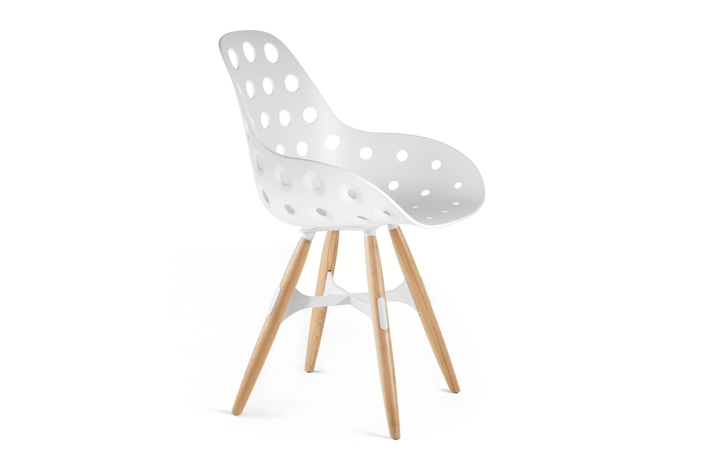 Kubikoff ZigZag Dimple Chair Black No Seat Pad White Powder Coated Metal + Natural Ash