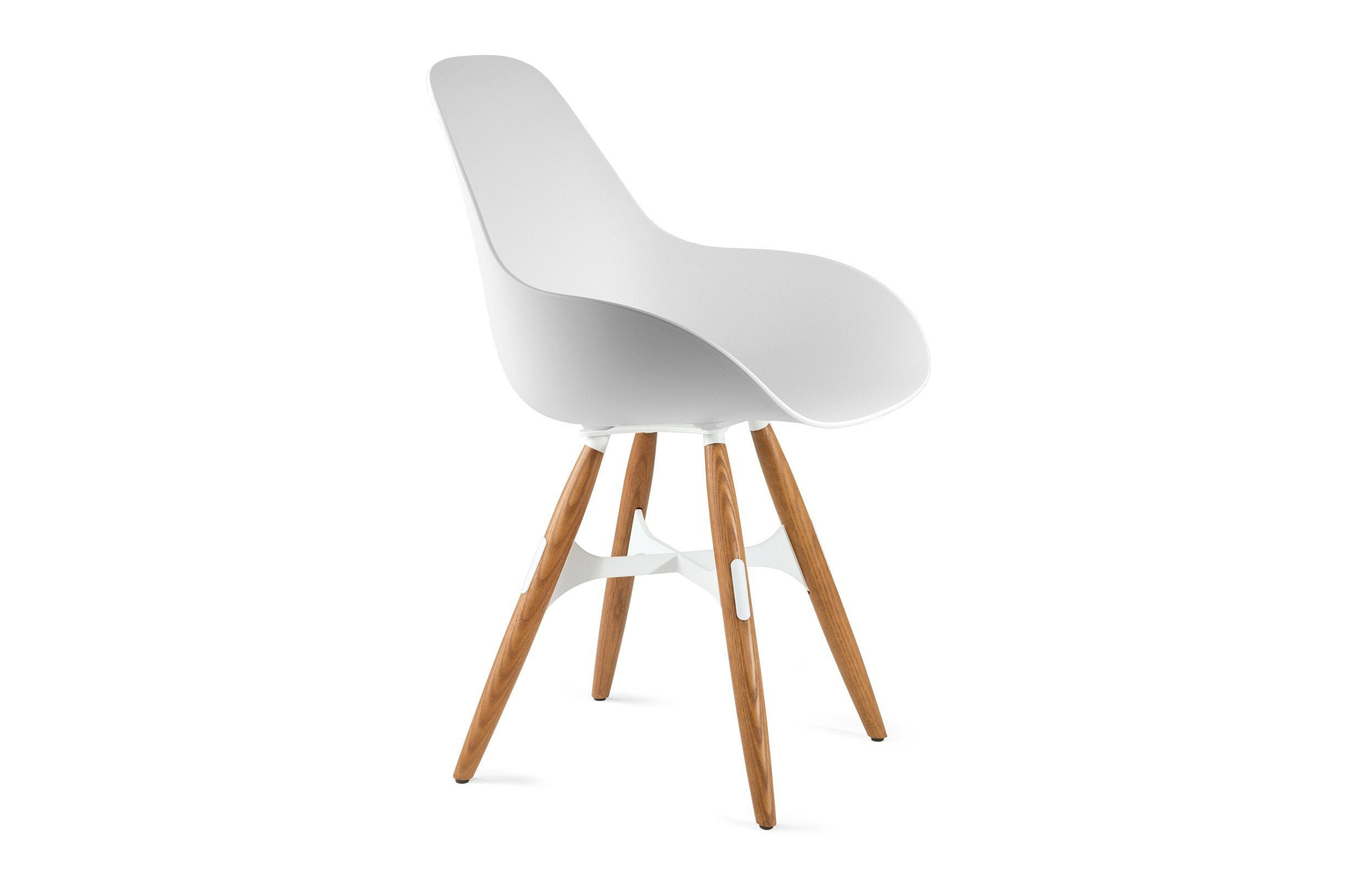Kubikoff ZigZag Dimple Closed Chair White White Powder Coated Metal + Natural Ash No Seat Pad