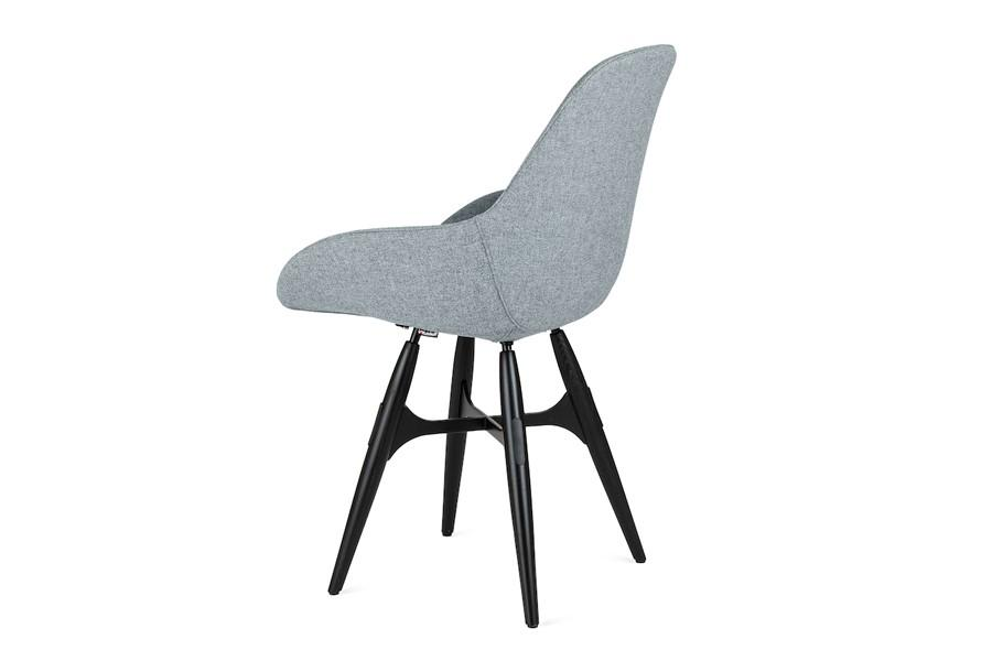 Kubikoff ZigZag Dimple Pop Chair Grey Wool No Seat Pad White Powder Coated Metal + Walnut Wood