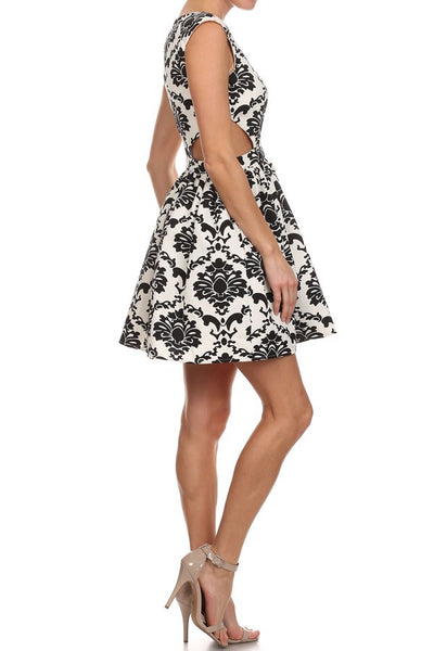 Mono Pattern Cutout Skater Dress