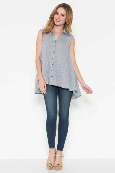 Sleeveless Button-Up Shirt