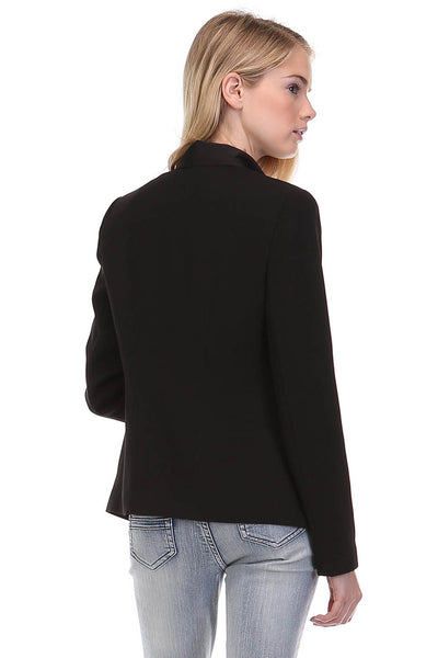 Drape Front Blazer with Zipper Details