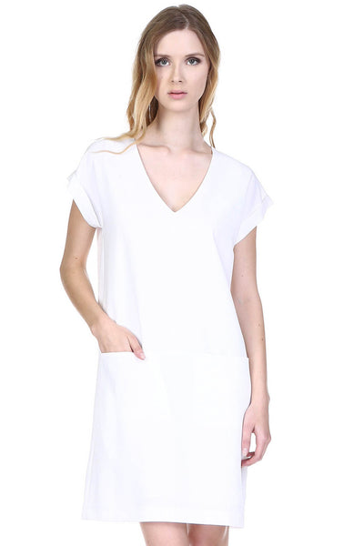 Front Pocket V-Neck Shift Dress