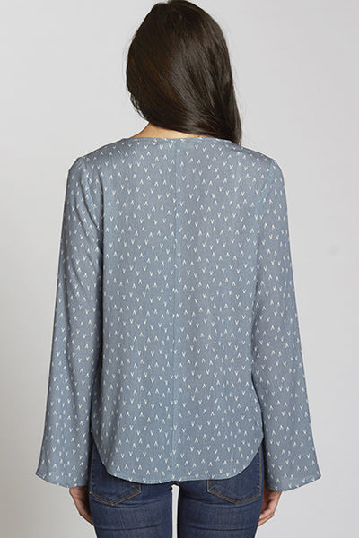 Geo Printed Lace-Up Front Top