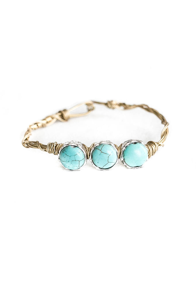 Three Turquoise Stone Gold Loop Bracelet