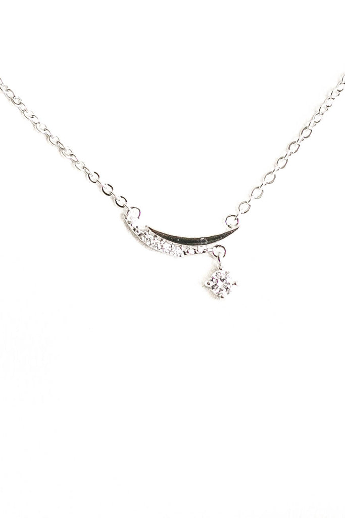 Studded Crest Moon Necklace