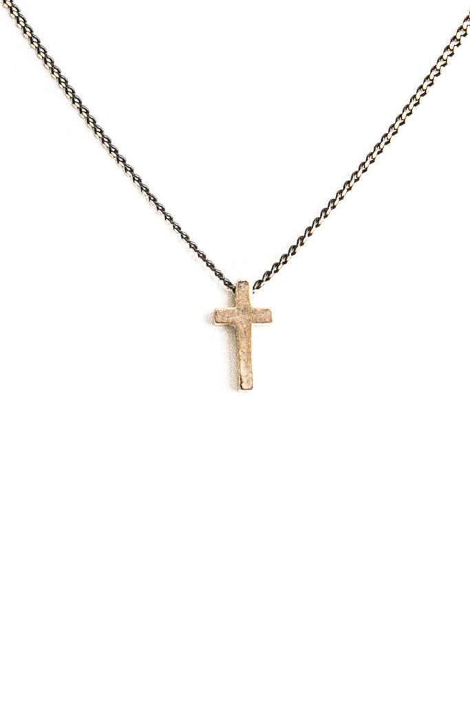 Gold Cross With Black Chain Necklace