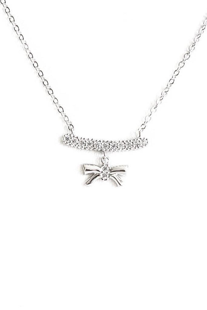Studded Bar With Bow Pendant Necklace