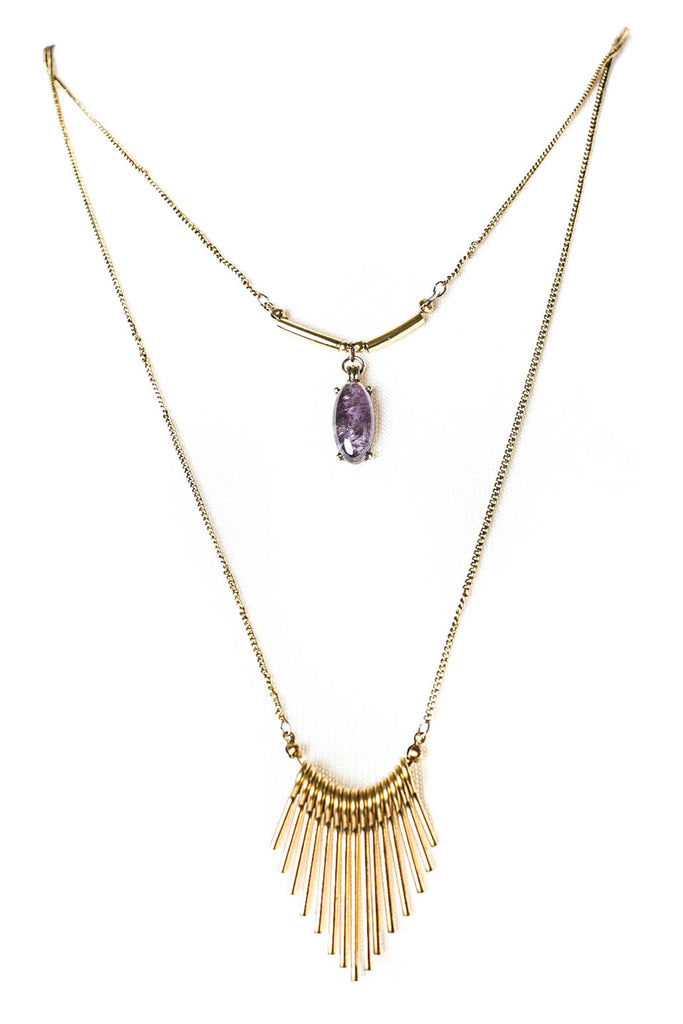 Purple Faux Gem With Gold Chain Necklace