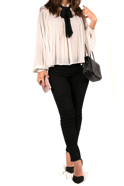 Contrast Tie Front Long Sleeve Blouse