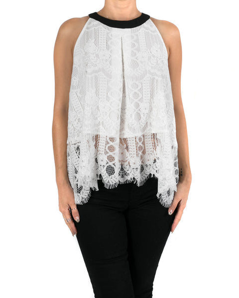 Halter Lace Top with Contrast Bow Back