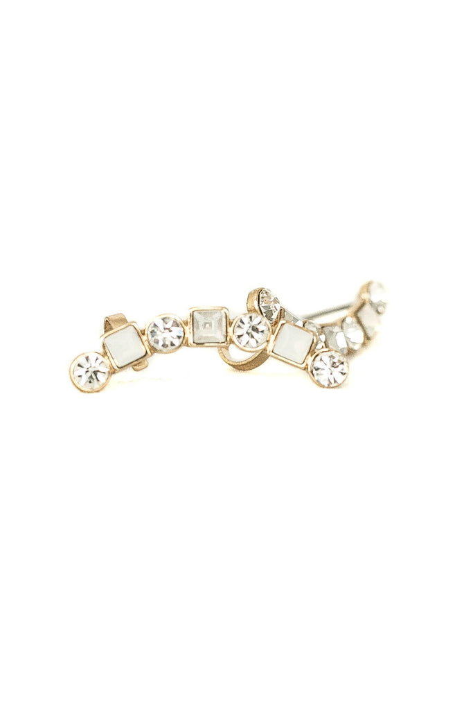 Circle And Square Rhinestone Ear Cuff