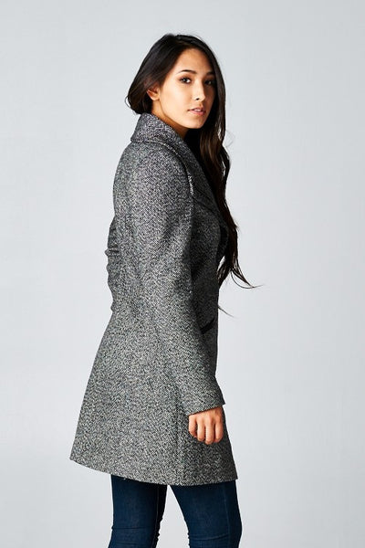 Long Sleeve Two Pocket Asymmetrical Coat