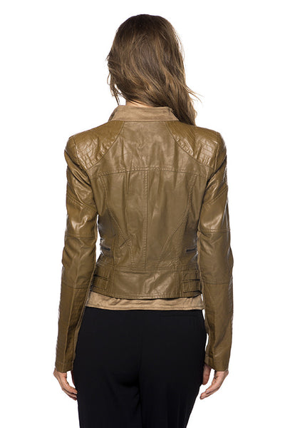 Leather Moto Jacket with Suede Contrast