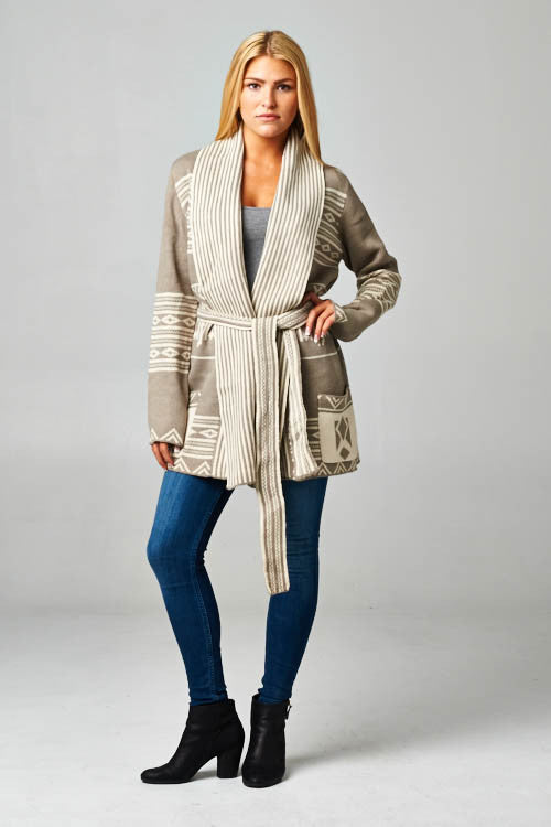 Aztec Pattern Belted Cardigan