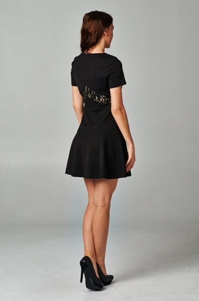 Short Sleeve Dress with Lace Panel