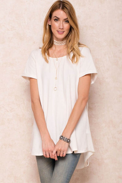 Roll Up Sleeve Fringe Back Top