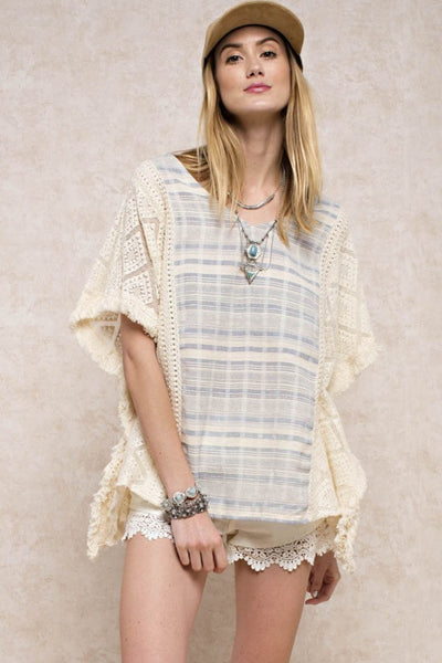 Texture Mixed Fringe Top
