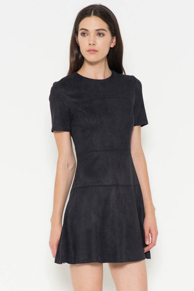 Faux Suede A-Line Dress