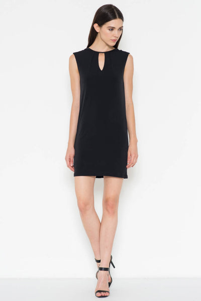 Keyhole Sleeveless Faux Leather Trim Dress