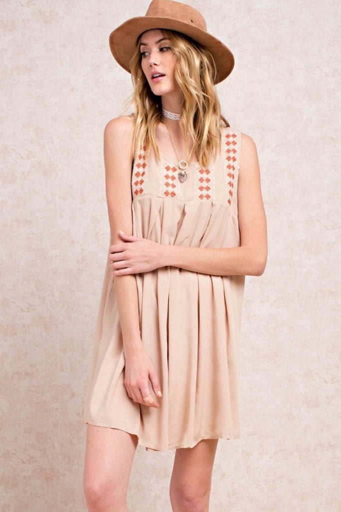 Embroidered Baby Doll Pleated Dress
