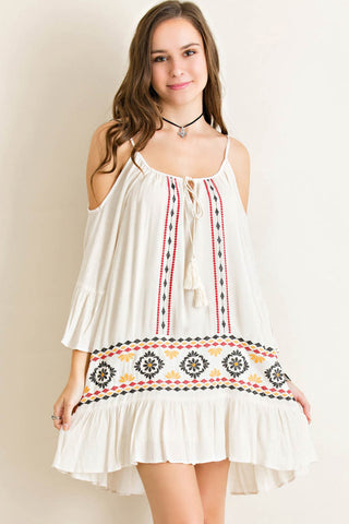 Aztec Embroidery Drop Waist Dress