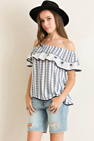 Printed Off Shoulder Lace Ruffle Top