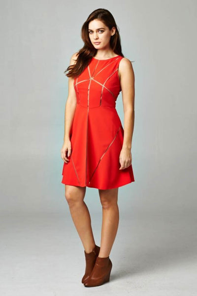 Mesh Cut-Out Skater Dress