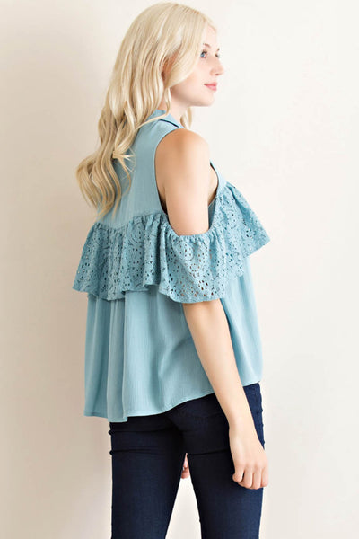 Button Down Collar Cold Shoulder Ruffle Top