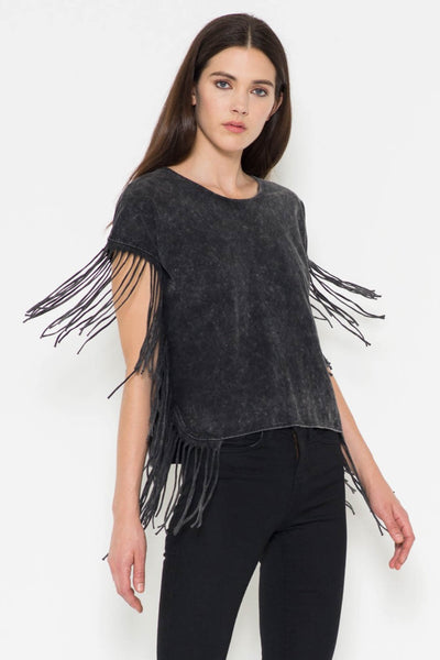 Short Sleeve Fringe Top
