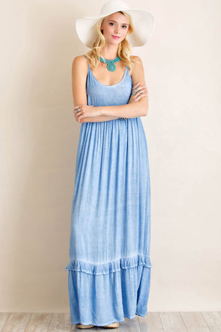 Acid Washed Scoop Neck Maxi Dress