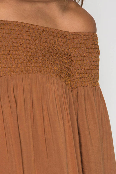 Off Shoulder Shift Dress with Elastic Smocking