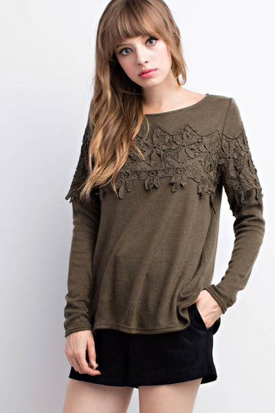 Lace Trimmed Sweater