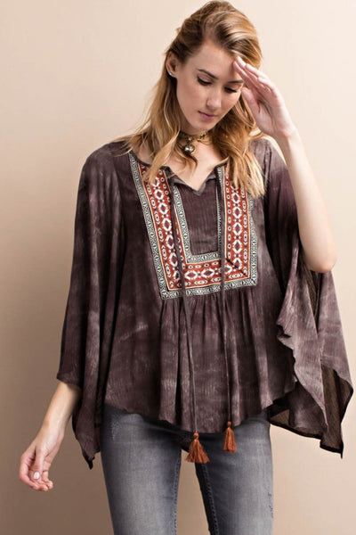 Mineral Washed Printed Woven Tunic
