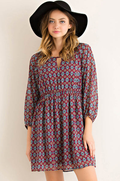 Mandala Print Blouson Dress with Elasticized Waist