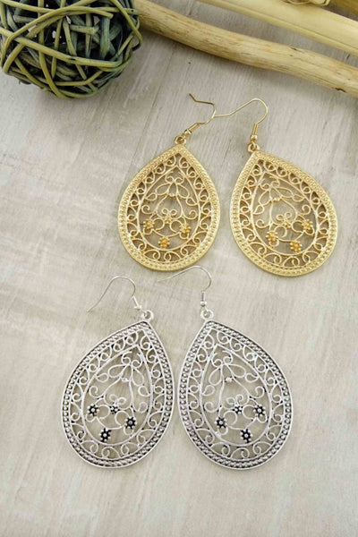 Jasmine Teardrop Filigree Earring