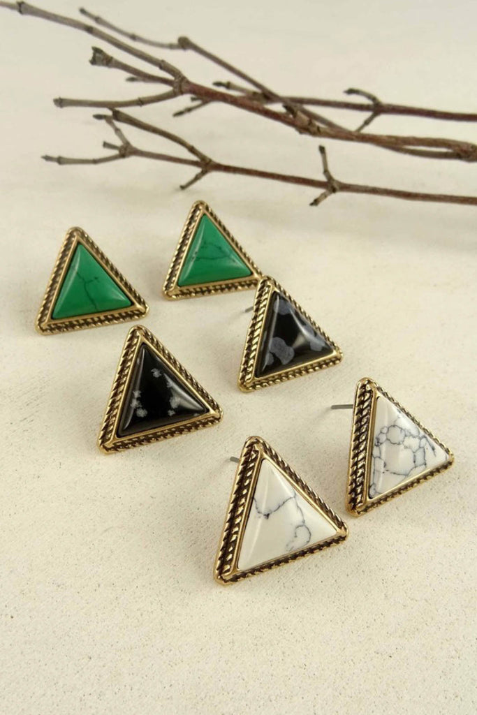Beth Natural Stone Triangle Earring
