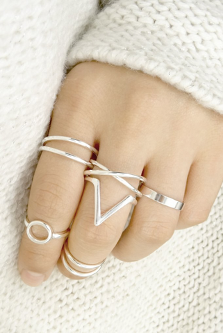 Brin Metal Multi Ring Set