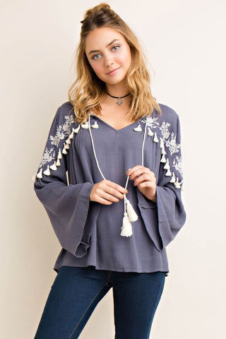 Solid Embroidery and Fringe Detailed Blouse