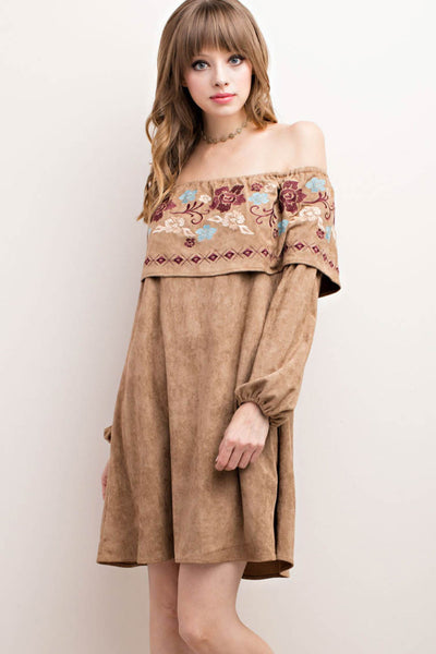 Embroidered Faux Suede Off the Shoulder Dress