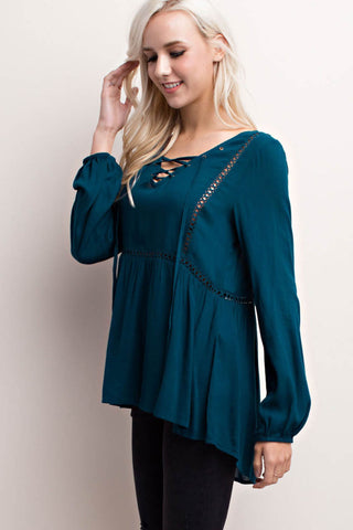 Lace-Up Crochet Trimmed Blouse