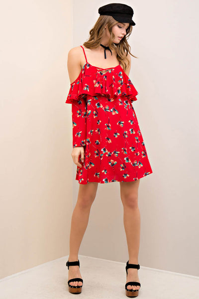 Floral Print Open Shoulder with Ruffle Swing Dress
