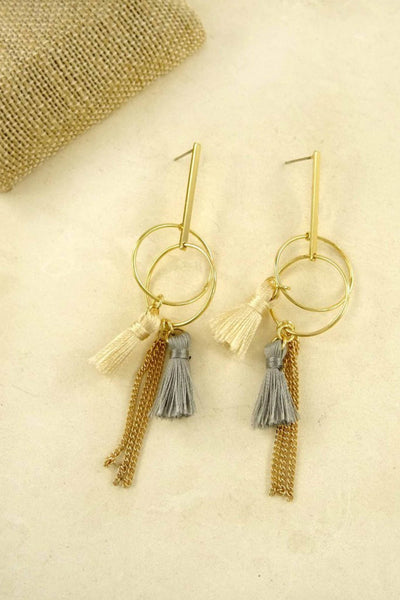 Adela Double Tassel Drop Earrings