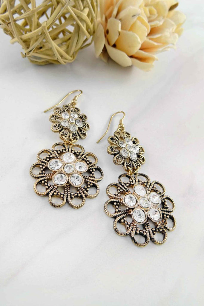 Ruby Filigree Rhinestone Flower Earrings