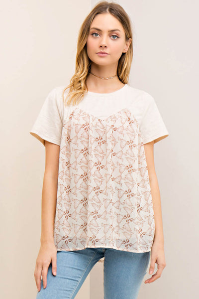Solid Short Sleeve Cami-Over Shirt Style