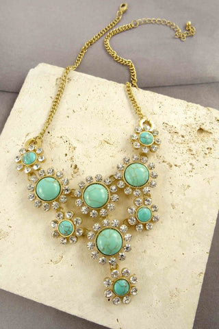 Louise Flower Rhinestone Statement Necklace