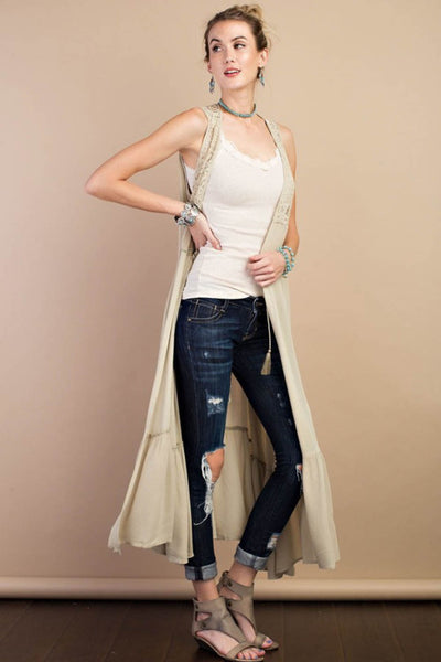 Sleeveless Open Maxi Cardigan