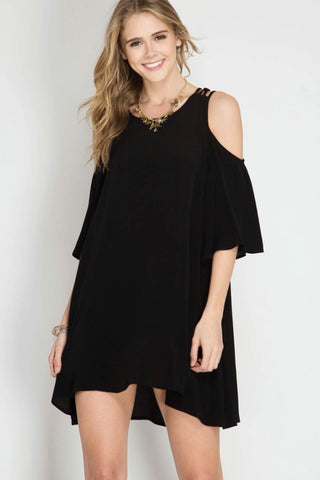 Half Sleeve Cold Shoulder Shift Dress
